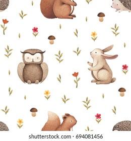 Illustrations of cute animals. Seamless pattern
