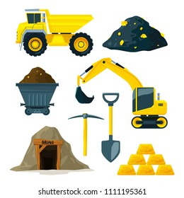 Illustrations of mining industry at different minerals, gold and diamonds. Gold industry underground, truck and mine