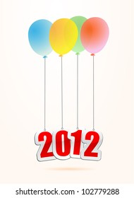 illustrations of new year greetings for 2012, hanging on balloons.