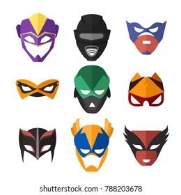 illustrations of superheroes masks. Set of mask for superhero character