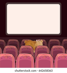 illustrations of teddy bears are watching a movie