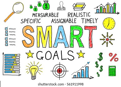 Illustrative Diagram Of Smart Goals Concept On White Background
