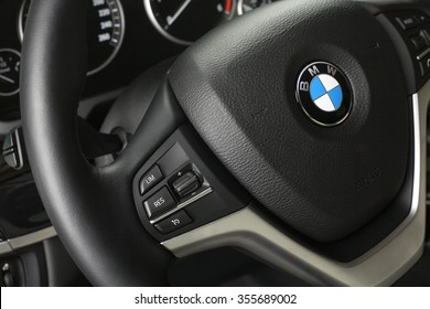 Illustrative editorial. BMW X5. Interior of leather passenger compartment of the car in light-dark tones. Moscow. Russia. 04.10.2015. Moscow.