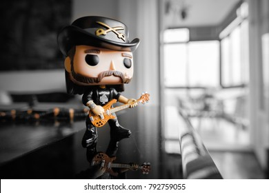 illustrative editorial of Funko Pop action figure of Lemmy Kilmister the bassist and frontman of the historic Motorhead heavy metal band Bologna, Italy, 13 Jan 2018