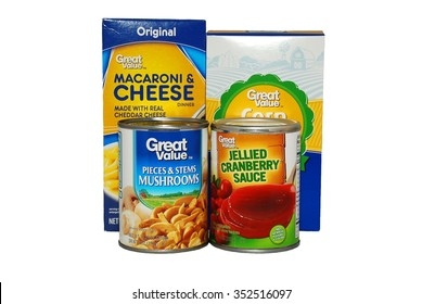 Illustrative Editorial - HAGERSTOWN, MD - JANUARY 25, 2015:  Image of Walmart's Great Value brand food on a white background.