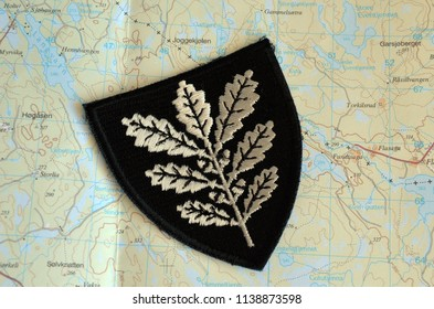 ILLUSTRATIVE EDITORIAL. Insignia of Army of Norway. Topographic map of Norway as a background. June 19,2018. Rakkestad,Norway