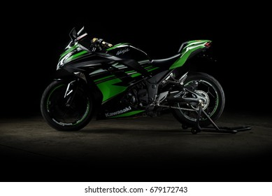 illustrative editorial. Kawasaki ninja 300 in Bangkok Thailand. 15 July 2017