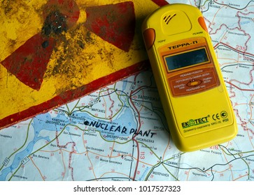 ILLUSTRATIVE EDITORIAL. Modern Ukrainian  geiger counter Terra-P. Back - Map with location NPP in Energodar.Kiev,Ukraine.February1, 2018
