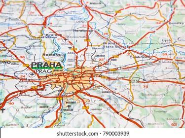 ILLUSTRATIVE EDITORIAL. Moscow Russia - December 23 , 2017: Czech Republic map Praha