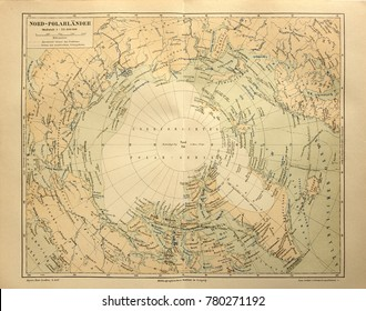 ILLUSTRATIVE EDITORIAL. Old map of the Arctic Circle. Circa 1885. Kiev, Ukraine December 23, 2017