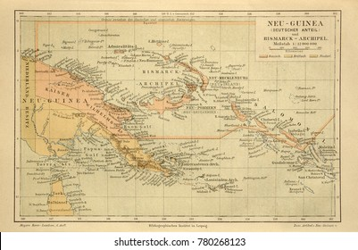 ILLUSTRATIVE EDITORIAL. Old map of the New Guinea. Circa 1885. Kiev, Ukraine December 23, 2017
