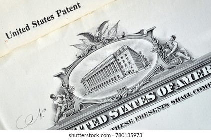 ILLUSTRATIVE EDITORIAL. USA invention patent close up (detale).Kiev,Ukraine December 21 ,2017