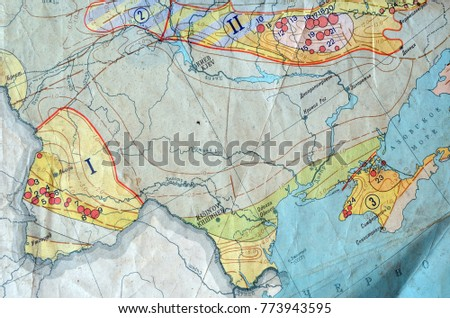 ILLUSTRATIVE EDITORIAL Fragment MAP USSR GAS AREAS Stock Photo (Edit ...