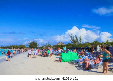 Illustrative image of a crowded beach on a Caribbean  island.