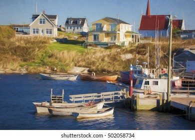 Illustrative image of fishing boats tied up to pier.  Houses in background.