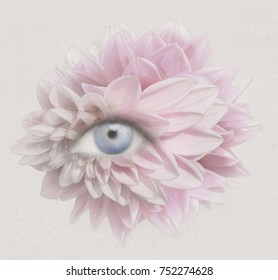 Illustrative image of a human eye with many petals and textures