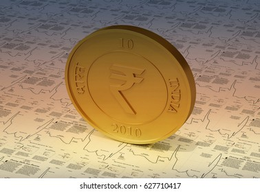 Illustrative image of Indian rupee coin on graph