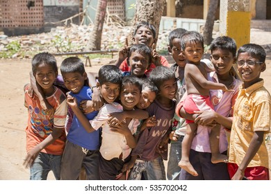 Illustrative image. Pondicherry, Tamil Nadu, India - Marsh 13, 2014. Poor children boys and girls in the street of small villages