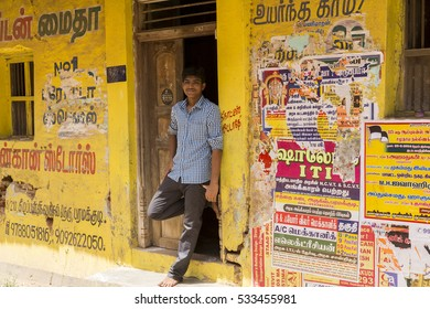 Illustrative image. Pondichery, Tamil Nadu, India - Marsh 10, 2014. Shop open in the street for different business.