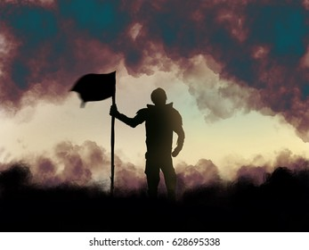 illustrative of man stand and hold a flag with mist  and sun shine background. Concept for leader or winner create in watercolor illustration paint