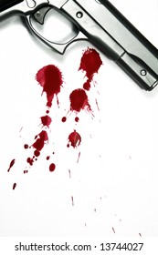 Illustrative styled photograph of a hand gun and blood splatter, on a white background.