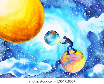 illustrator artist man painting world moon universe abstract watercolor illustration design hand drawn