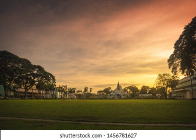 Iloilo City / Philippines - December 22, 2015: The church and campus scene during Christmas break in Central Philippine University in Iloilo City, Visayas, taken at sunset.