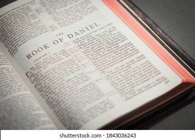 Iloilo City / Philippines - October 19, 2020: The Book of Daniel is a book of prophecy in the Old Testament. Photo shows an open Bible.