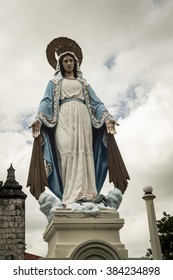 Iloilo, Philippines - February 15, 2016. Virgin Mary Statute in Jaro evangelical church.
