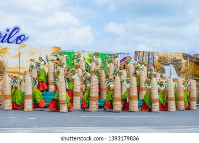 ILOILO , PHILIPPINES - JAN 27 : Participants in the Dinagyang Festival in Iloilo Philippines on January 27 2019. The Dinagyang is religious and cultural ennuel festival