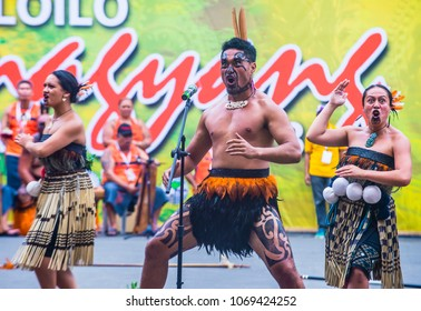 ILOILO , PHILIPPINES - JAN 28 : Maori dancers in the Dinagyang Festival in Iloilo Philippines on January 28 2018. The Dinagyang is religious and cultural festival that honor the Santo Niño