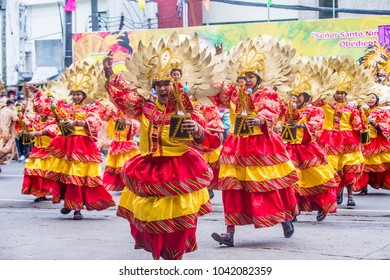 ILOILO , PHILIPPINES - JAN 28 : Participants in the Dinagyang Festival in Iloilo Philippines on January 28 2018. The Dinagyang is religious and cultural festival that honor the Santo Niño