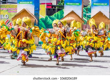 ILOILO , PHILIPPINES - JAN 28 : Participants in the Dinagyang Festival in Iloilo Philippines on January 28 2018. The Dinagyang is religious and cultural festival that honor the Santo Nino