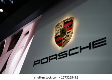 Ilsan, Gyeonggi-do, South Korea - March 31, 2019 : The Porsche logo on display at the Porsche booth at the 2019 Seoul Motor Show