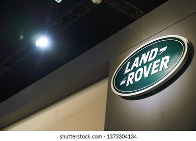 Ilsan, Gyeonggi-do, South Korea - March 31, 2019 : The Landrover logo on display at the Landrover booth at the 2019 Seoul Motor Show