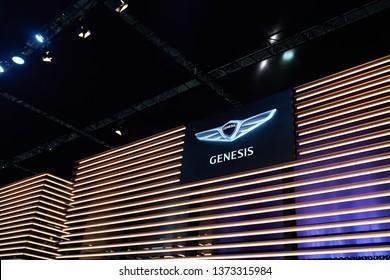 Ilsan, Gyeonggi-do, South Korea - March 31, 2019 : The Hyundai Genesis logo on display at the Hyundai Genesis booth at the 2019 Seoul Motor Show