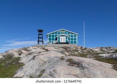 Ilulissat, Greenland - June 30, 2018: Naalakatta Illua Church which was moved to Ilulissat from Qullissat in 1973