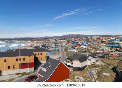 Ilulissat, Greenland - June 30, 2018: View of the city with coloful wooden houses