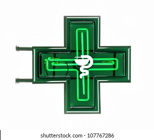 Iluminated Green Pharmaceutical Cross isolated on white Background