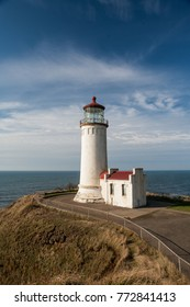 Ilwaco, WA, USA Oct 14, 2011: The North Head Lighthouse first went into service in 1898 and is still in use, stands on a bluff at Cape Disappointment on the Washington state coast.
