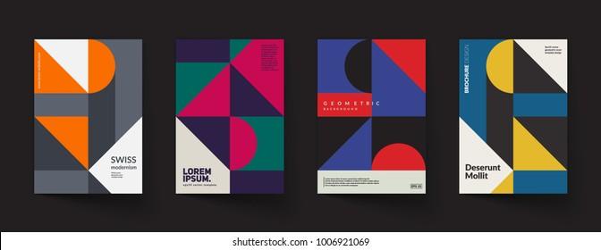Retro geometric covers design. Eps10 vector.