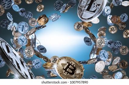Vliegende en vallende bitcoins en litecoins met vrije ruimte in het midden. Digitale monitoring, controle en geld wisselen cryptocurrency-concept. Hoge resolutie foto.