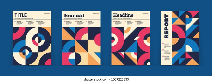 Set of geometric covers. Collection of cool vintage covers. Abstract shapes compositions. Vector.