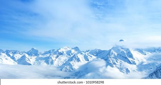 beautiful landscape of mountain Dombaj, Russia,  panorama