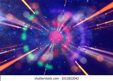 Destello de lente abstracto. Concepto de imagen de fondo de viaje en el tiempo o el espacio sobre colores oscuros y luces brillantes
