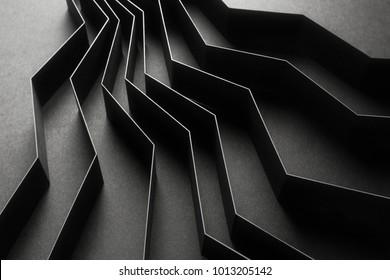 Nahaufnahme der schwarzen geometrischen Formen, abstrakter Hintergrund