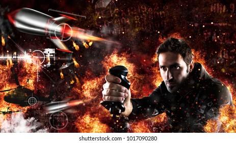 Mann spielt mit Videospielen mit Joystick eine Kriegsschlacht