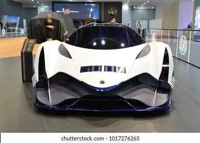 DUBAI, UAE - NOVEMBER 17: The Devel Sixteen supercar is on Dubai Motor Show 2017 on November 17, 2017