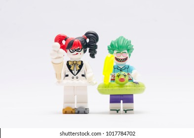 MALAYSIA, jan 21, 2018. beach joker and killer moth. Lego minifigures are manufactured by The Lego Group.