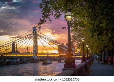 The photo of Albert Bridge, Chelsea, London. One of the famous suspension bridges in the UK.